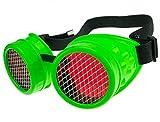 MFAZ Morefaz Ltd Schutzbrille Schweißen Sonnenbrille Welding Cyber Goggles Steampunk Goth Round Cosplay Brille Party Fancy Dress (Neon Green Grid)