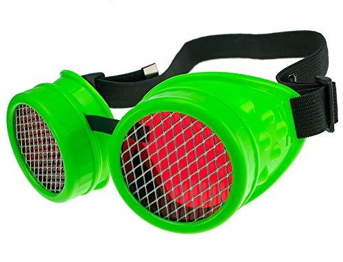 MFAZ Morefaz Ltd Schutzbrille Schweißen Sonnenbrille Welding Cyber Goggles Steampunk Goth Round Cosplay Brille Party Fancy Dress (Neon Green ()