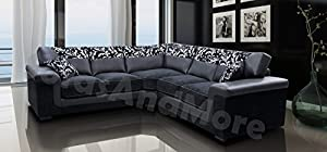 Harmony Corner Sofa Black Faux Leather Fabric Settee from Meble Roberto sp. z.o.o