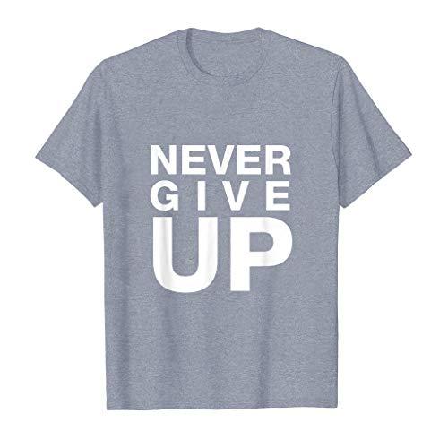 Tyoby Herren T-Shirt Drucken Gib nie auf Fun Kurzärmliges Oberteil Sommer Mode Casual Tops Herrenbekleidung (GrauC,L)