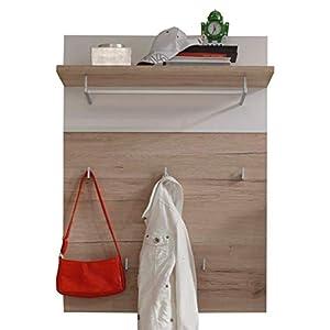 trendteam Garderobe Gardrobenpaneel Campus, 80 x 109 x 30 cm in Eiche San Remo Hell Dekor, Absetzung Weiß mit Ablageboden und fünf Kleiderhaken
