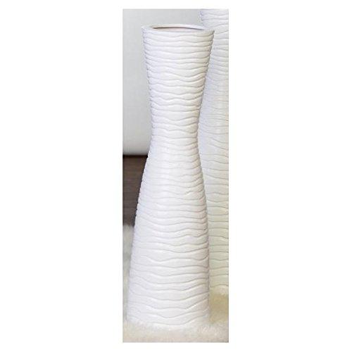 XXL Designer-Vase Tamera aus Keramik . weiß . matt mit Wellenrelief Höhe 77 cm . Ø 16 cm