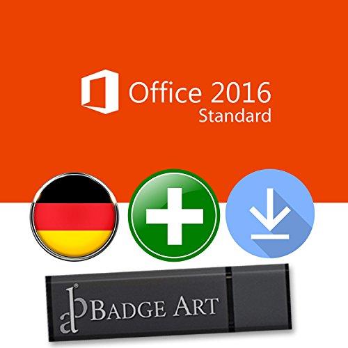 Microsoft Office 2016 Standard ISO USB. 32 bit & 64 bit - Original Lizenzschlüssel mit USB Stick von Badge Art