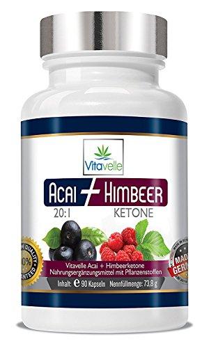 Himbeer Ketone plus Acai 20:1 hochkonzentrierter Fatburner 90 Kapseln a 700mg - Original Formel - Starke Wirkung - Fettverbrennung, Fettburner & Stoffwechselturbo zur Unterstützung einer Diät - Extrakt Antioxidantien-formel
