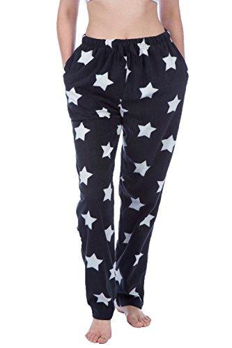 Damen Flanell Schlafanzug Pyjama 100 /% Baumwolle Schwarz Maße S 36//38