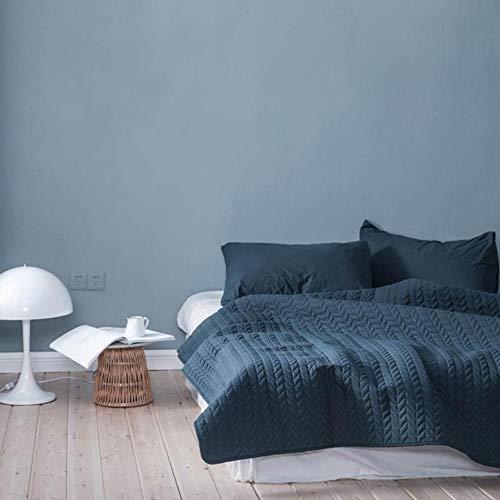 HUILIN Gewaschene Baumwolle Einfarbig Quilting Tröster Bettdecke Typ Sommer Quilt Twin Queen Size Plaid Decken, 3,1pc Quilt, 150x200cm