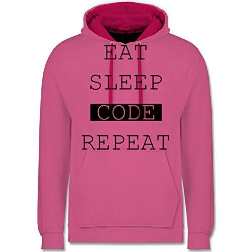 Programmierer - Eat-Sleep-Code-Repeat - Kontrast Hoodie Rosa/Fuchsia