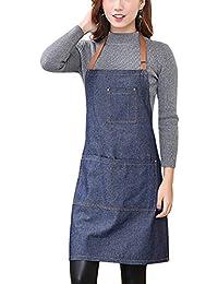 Aivtalk - Femme Tablier Longue en Denim Licou Réglable Tablier en Jeans pour Cuisine Restaurant Café 71*65cm