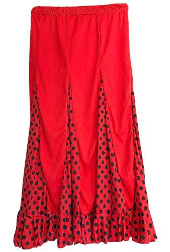 La Señorita Flamenco Rock Kinder Spanische Kleider rot mit schwarzen Punkten (Größe 6, 104-110, Länge 60 cm)