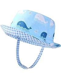 c411949650c03 VBIGER Kids Cotton Bucket Hat Reversible Sun Hat Foldable Beach Cap with  Adjustable Chin Strap
