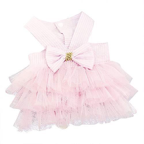 YWLINK Prinzessin Kleider Vokuhila Sommer Party Abendkleid Hochzeit Elegant Sling Kleid Streifen Spitzen Patchwork Kleid Hundekleid Bogen Tutu(Rosa,S) -