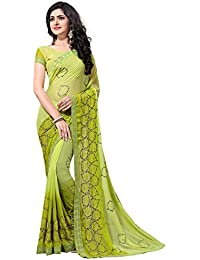 Fab Valley Women Georgette Embroidery Saree With Blouse Piece (Green)