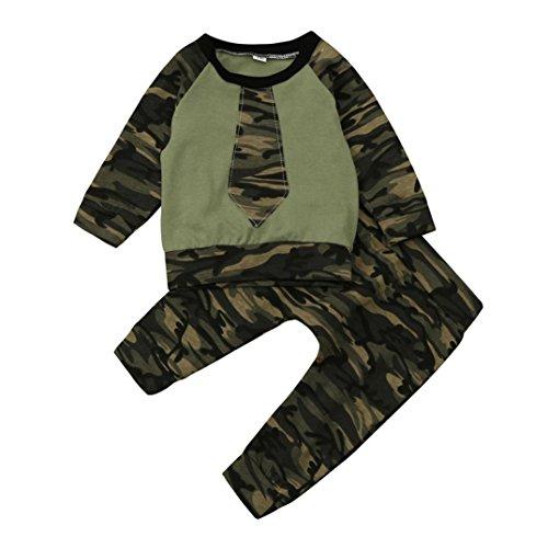 Bebé niñas niños ropa de conjunto, Yannerr Pantalones de la camisa de los tops del camuflaje Trajes (100)