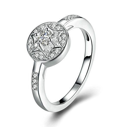 Epinki Mode 925 Sterling Silber Damen Ringe Silberring Zirkonia Solitärring Stern Ring Glänzend Verlobungsringe Heiratsantrag Ring Gr.60 (19.1)