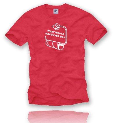 MAC GYVER... T-Shirt Größe XXL - Rot / Weiss (Greys Anatomy Scrubs)