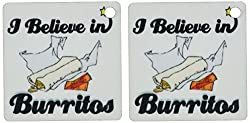 3dRose I Believe In Burritos - Key Chains, 2.25 x 2.25 inches, set of 2 (kc_104908_1)