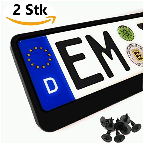 Kennzeichenhalter Auto Schwarz (2 Stück) Nummernschildhalter Klassisch Pkw Kennzeichenhalterung Nummernschild (EU Standard Grösse 52cm)