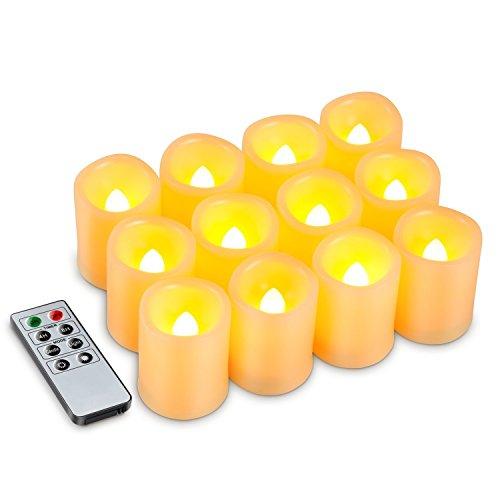 Kohree Romantische Kerzen mit Fernbedienung, LED Kerze mit Timer, 12 LED Flammenlose Kerzen Batteriebetrieben (Timer Mehrere)