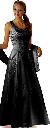 Abendkleid festlich lang Brautmutterkleid Brautjungfernkleid Ballkleid A-Linie breite Träger bodenlang XXL große Größen Satin