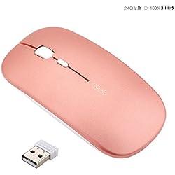 Ratón Inalámbrico Recargable, Silencioso Infame Ratón óptico Silencioso Click Mini, Ultra Delgado 1600 DPI Para Computadora Portátil, PC, Portátil, Computadora, Macbook(Oro rosa)