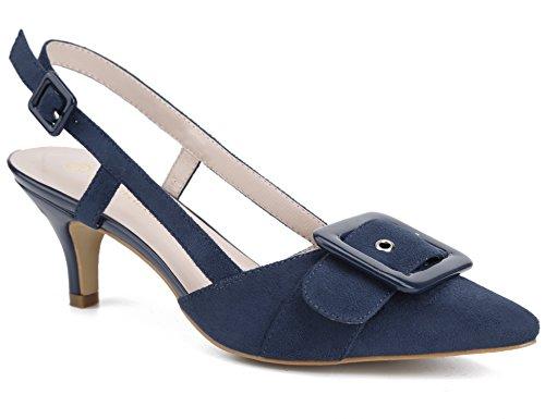 MaxMuxun Pumps Damen Schuhe Spitze Slingback Schnalle Sandalen Tanzschuhe Blau Größe 41 EU (Schnalle Spitze)