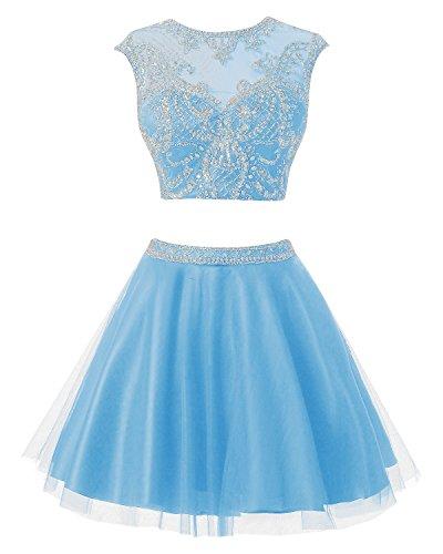 Bbonlinedress Robe courte de soirée de cocktail Robe de bal deux pièces emperlée Bleu