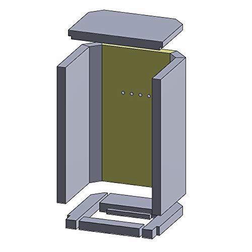 PUR Schamotte Rückwandstein 470x262x30mm mit Bohrung (Vermiculite)