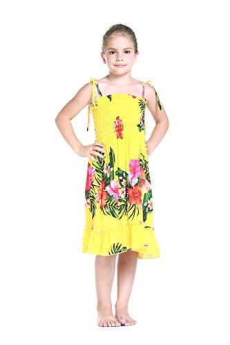 Nia-Elstico-Ruffle-Hawaiian-Luau-vestido-en-Amarillo-Floral-6-mes