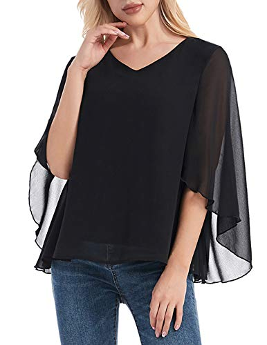 ANGGREK Damen Chiffon Blusen Sommer 3/4 Arm V-Ausschnitt Asymmetrisch Tunika Shirt