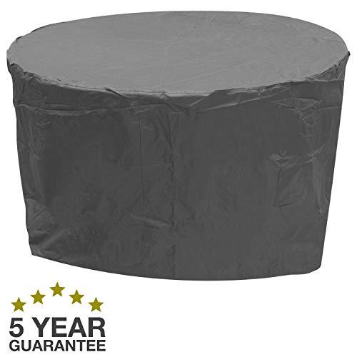 Oxbridge - Bâche de protection - ronde/imperméable - pour meubles d'extérieur - garantie 5 ans - gris - taille moyenne