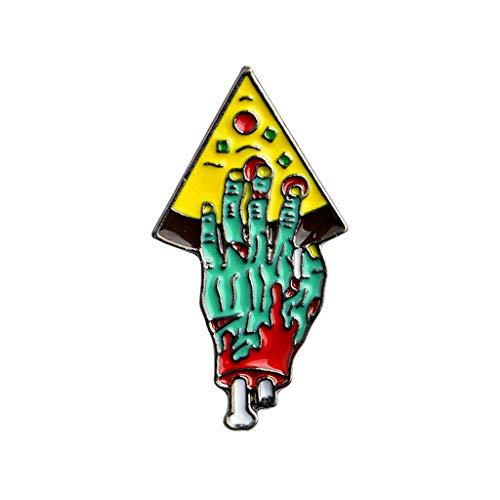 osche, Zombie Hand Skelett Pizza Bunte Kunst Kreative Abzeichen Frauen Kleid Party Halloween Pins, Unisex Dekoration Kleidung Geschenke Mode ()