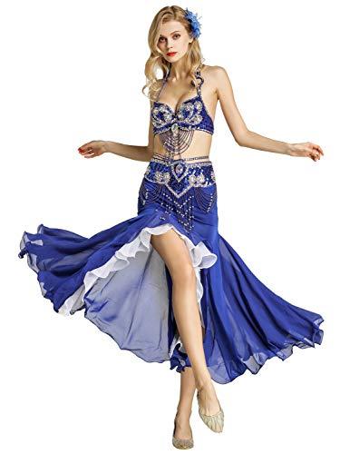 Zengbang Mode Indische Tanz Bauchtanzanzüge Set Fischschwanzrock BH Top Bauchtanz Kostüme Für Frauen (Blau(2PCS), Asien - Bh Top Tanz Kostüm