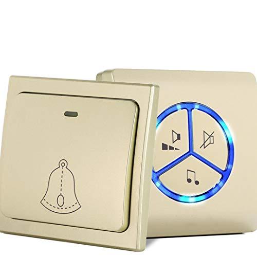 FMTMY Drahtlose Türklingel, Wasserdichte Tür Keine Batterien Am Besten Für Plug-In-Tür-Eingangs Glocke Erforderlich,Gold