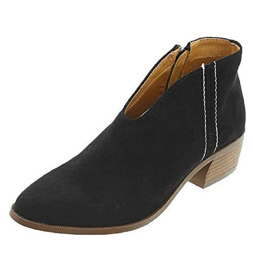 Sandalen Damen mit Absatz Leder 4 cm Blockabsatz Wildleder Geschlossene Schuhe Reissverschluss Sommer Frühling Schwarz 42 (Schwarzen Frauen Flache Schuhe)
