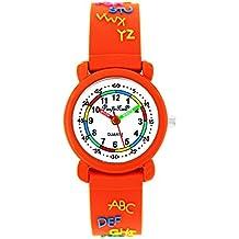 Pacific Time Reloj de pulsera para niños Reloj aprendizaje ABC Lectura Chica Joven analógico de cuarzo