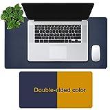 OFFIDIX Office Desk Mat, Tapis de souris de bureau bicolore en cuir PU antidérapant, double face, imperméable, pour ordinateur de bureau et tapis de jeu, pour bureau et maison (bleu et jaune,24'x12')
