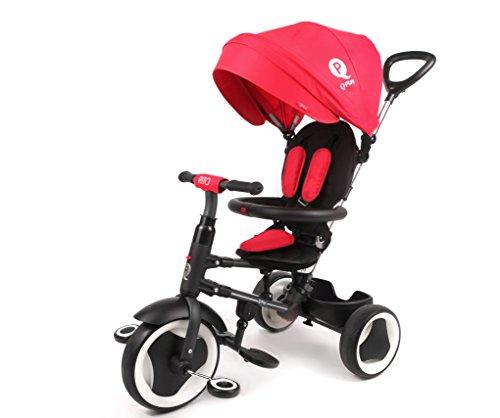 Mondial Toys Triciclo Passeggino Pieghevole RITO 3 in 1 con MANIGLIONE DIREZIONABILE E CAPPOTTINA Parasole Colore Rosso