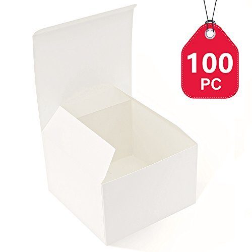 mescha recyceltem Geschenk-Boxen 15,2x 15,2x 10,2cm weiß glänzend Kartons 100Kraft Favor Boxen für Party, Hochzeit, Geschenk - Geschenk-boxen Zoll 6