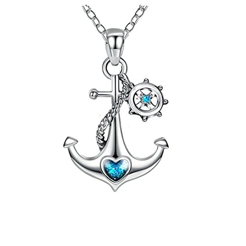925er Sterling Silber Blaue Ozean Herz Schiff Anker und Ruder Nautische Halskette