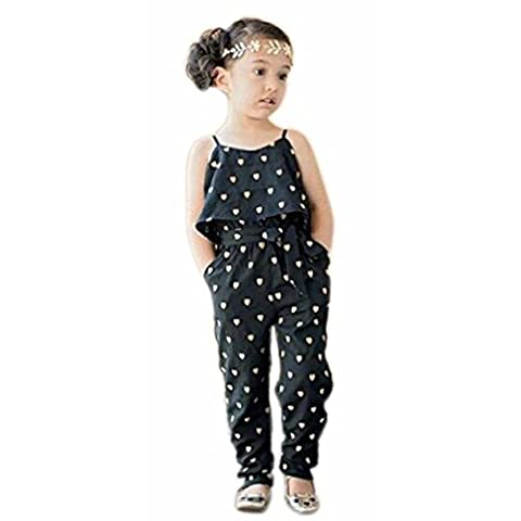 Kolylong Kids Girls Love Heart Straps Rompers Jumpsuits Piece Pants Clothing (3-4Y)