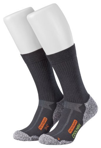 Piarini 2 Paar Coolmax Wandersocken Outdoorsocken Funktionssocken lang | anthrazit 39-42 (Wander-socken)