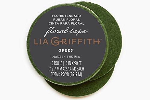 Lia Griffith - Nastro con Motivo Floreale, Confezione da 3, Colore: Verde