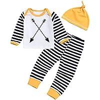Doing1 3PCS Kleinkind Baby Jungen Mädchen Streifen Print Langarmshirts Top Kleidung + Lange Hosen + Hut Set Outfit... preisvergleich bei billige-tabletten.eu
