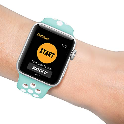 SYOSIN für Apple Watch Armband 38mm 40mm 42mm 44mm, Gewobenes Silikon Sport Schlaufe Handgelenk Uhrband Ersatz Armreif Uhrenarmband für iWatch Apple Watch Series 4, Series 3, Series 2, Series 1 - Silikon-armband-nike