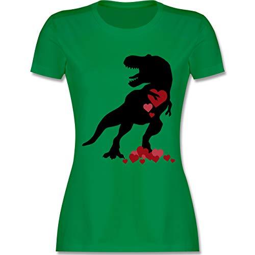 Valentinstag - T-rex mit Herzen - Valentinstag - XXL - Grün - L191 - Damen Tshirt und Frauen T-Shirt