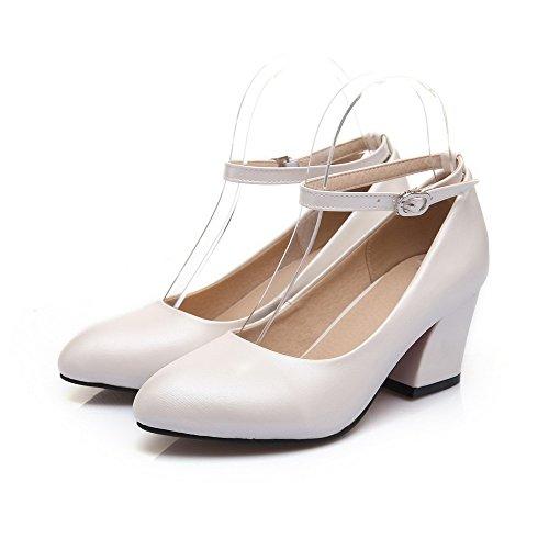 Voguezone009 Mujeres Faux Suede Leather Hebilla De Punta Estrecha De Tacón Medio Pure White Ballet Flats