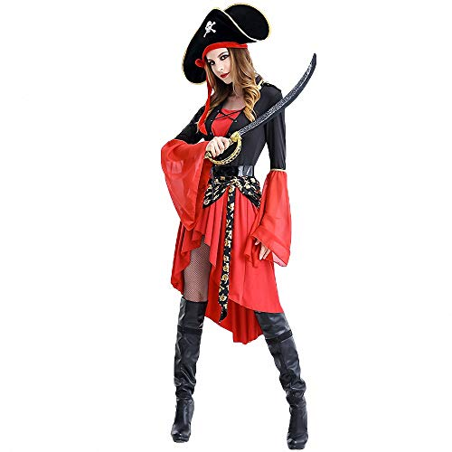 Halloween Costumes for Women,Adult Party Fancy Swashbuckler Halloween Cosplay Pirate Costume Dress