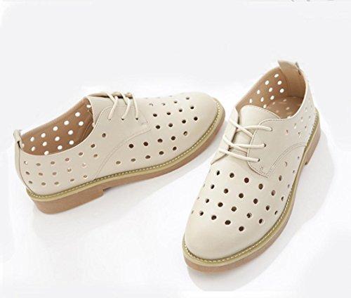 WZG Les nouvelles Mme occasionnels sandales Angleterre marée chaussures creux chaussures sandales poinçonnage beige