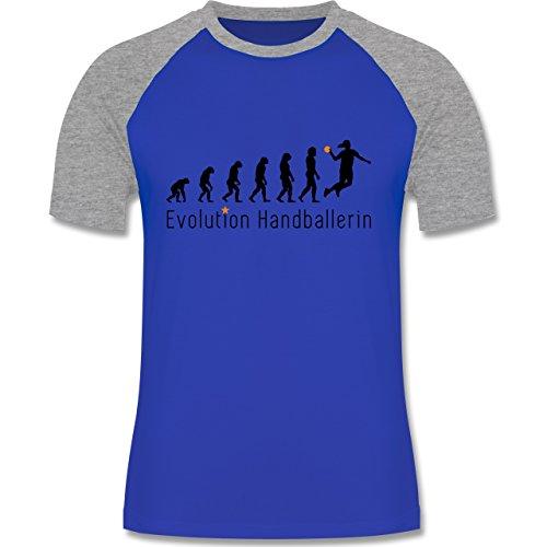 Evolution - Handballerin Evolution Wurf - zweifarbiges Baseballshirt für Männer Royalblau/Grau meliert