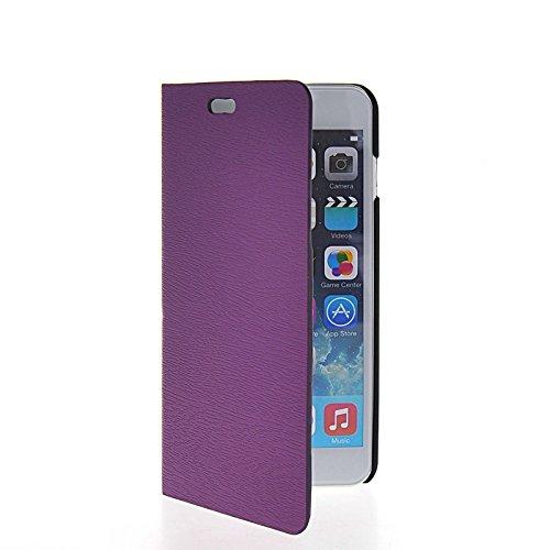 MOONCASE Coque en Cuir Portefeuille Housse de Protection Étui à rabat Case pour Apple iPhone 6 Plus Voilet Voilet 06